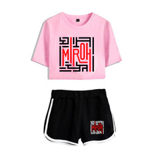 Stray Kids Two-Piece 2019 Fashion Hot Summer Cotton Print Exposed Navel white T-Shirt+black shorts Women's Suit clothing XS-2XL