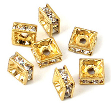 100Pcs/lot Gold Metal Square Rhinestone Crystal Spacer Bars Beads 6mm 8mm10mm Brass Micro Pave For DIY Jewelry Making цена 2017