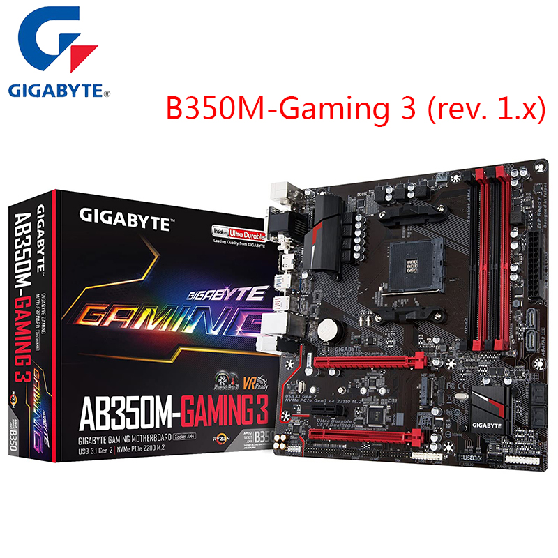 New Gigabyte AB350M Gaming 3 Rev. 1.x Motherboard <font><b>AMD</b></font> Ryzen <font><b>B350</b></font> AM4 Motherboard Support Ryzen 5 3600 2600 Ryzen 7 3700x image