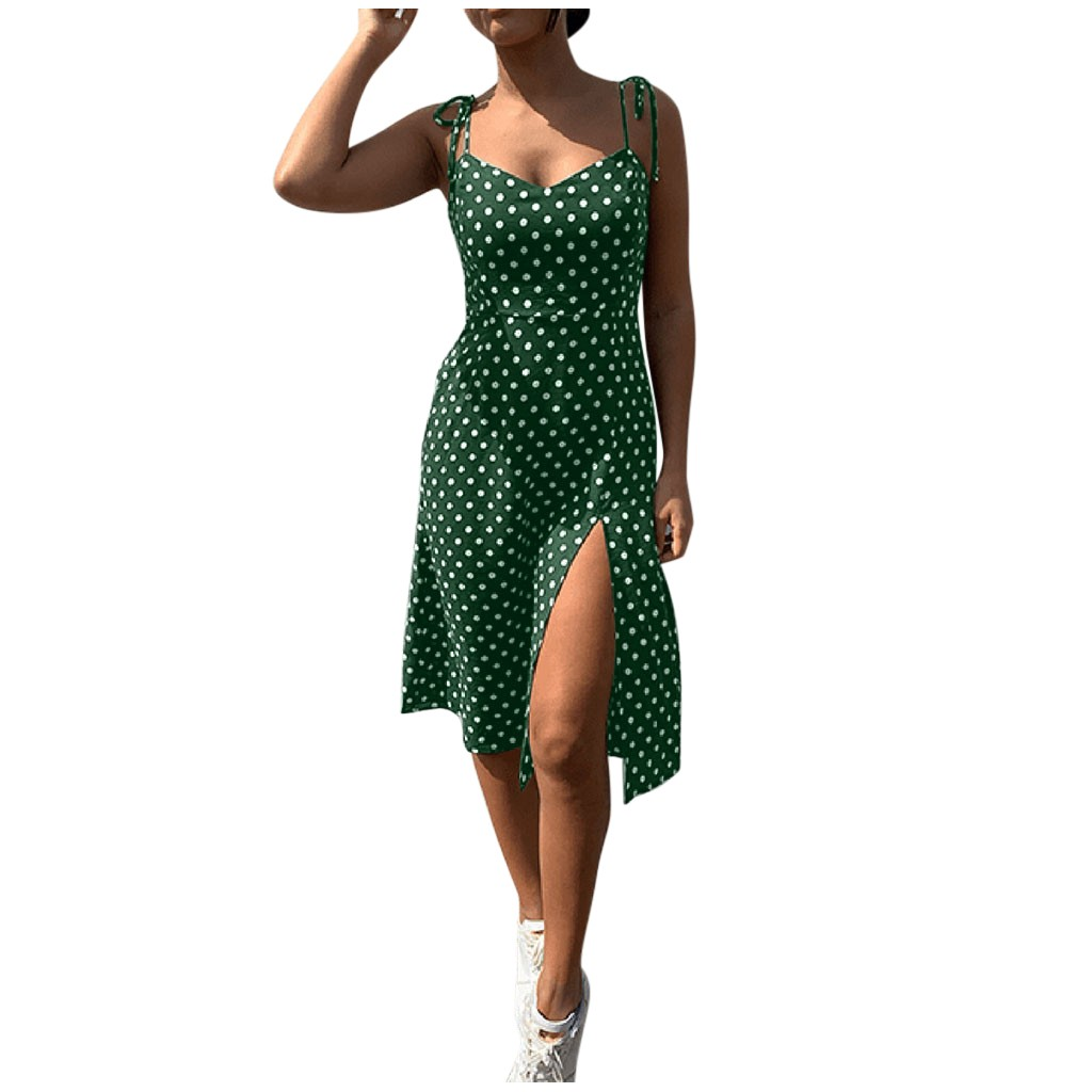 платье 2021 Womens Causal Dot Sleeveless High Waist V-Neck Dress Ladies summer dress Evening Party Beach Dresses de mujer