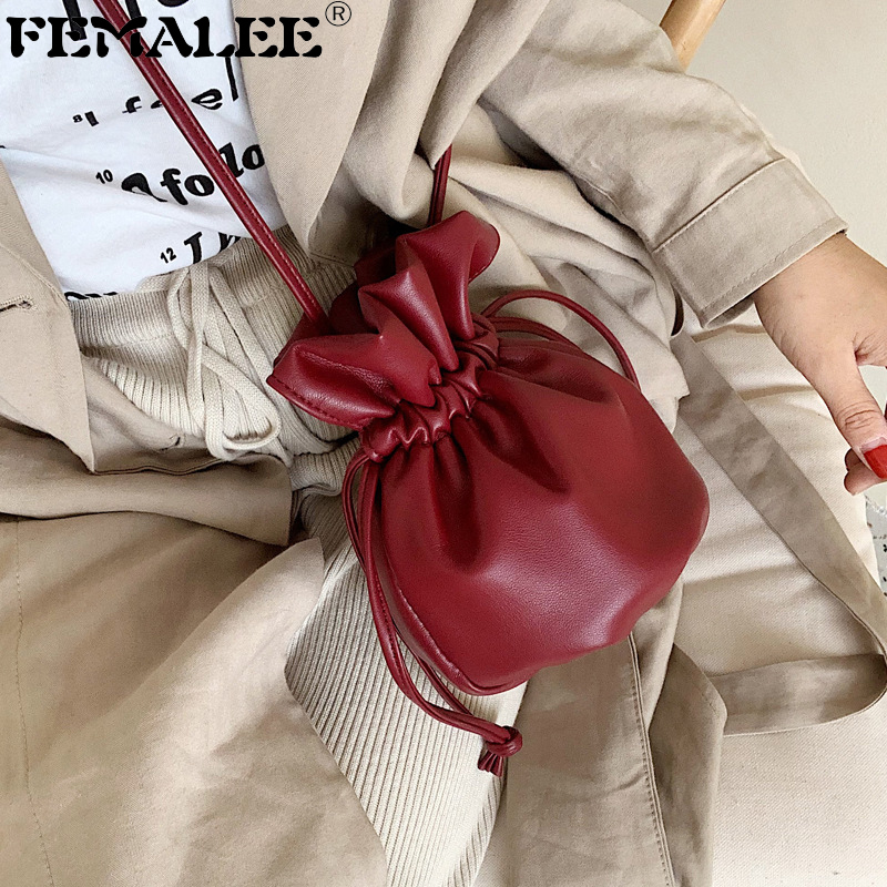 Mini Drawstring Bucket Bag Small Soft Wrinkled Shoulder Bag Ins Tiny Handbags For Women Designer Ladies Crossbody Clutch Purses