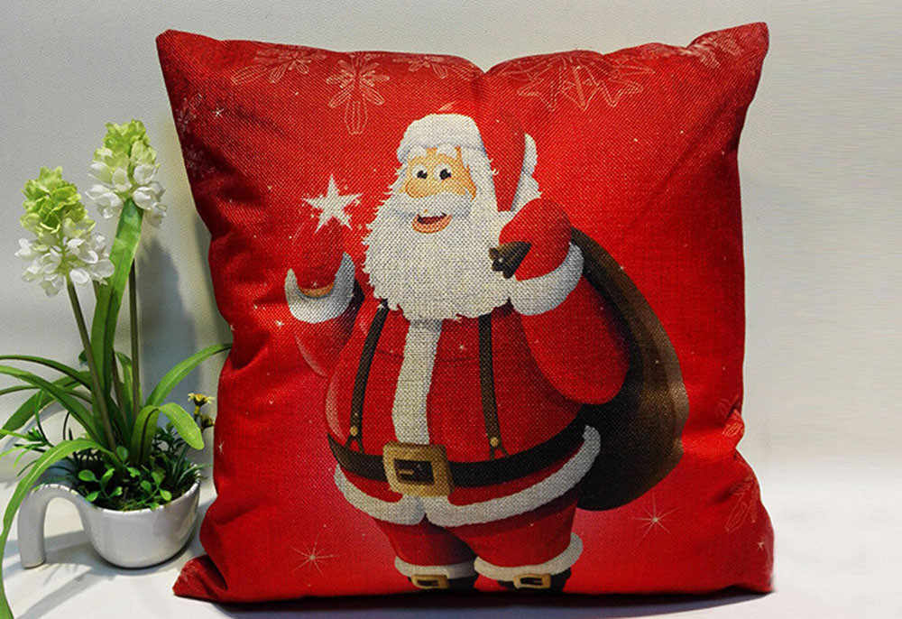 NEW Christmas Festival Pillow Santa Claus Printing Dyeing Sofa Bed Home Decor Pillow Bedroom Christmas Cushion Hot Sale LD