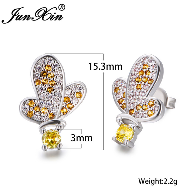 Cute Animal Butterfly Earrings Silver Color White Yellow Austrian Crystal Wedding Stud Earrings For Women Engagement Jewelry