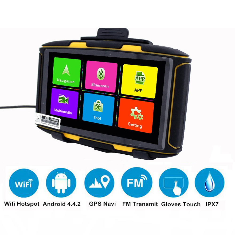 Karadar 5 inch Android Navigator Motorcycle Waterproof DDR 1GB MT-5001 GPS with WiFi, Play Store APP download, Bluetooth 4.0 image