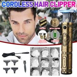 Elektryczna maszynka do strzyżenia włosów trymer do włosów trymer do brody profesjonalna maszyna tnąca do włosów Usb akumulator dla mężczyzn z 3 grzebieniami i 1 szczotką
