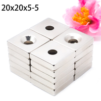 100 pieces. tours Block 20x20x5 mm with a hole 5 mm super strong high quality rare earth magnets neodymium magnet 20x20x5 5