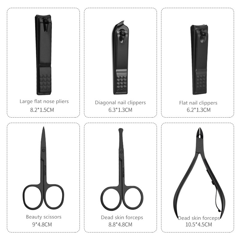 New Black Stainless Steel Manicure Nail Clippers Pedicure Set Portable Travel Hygiene Kit Nail Trimmer Cutter Tool Set pet