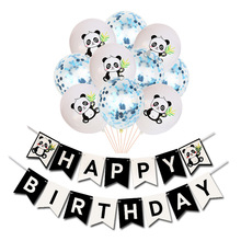 10 Pcs/lot  New Panda Birthday Flower Latex Balloons Sequined Confetti Set Holiday Party