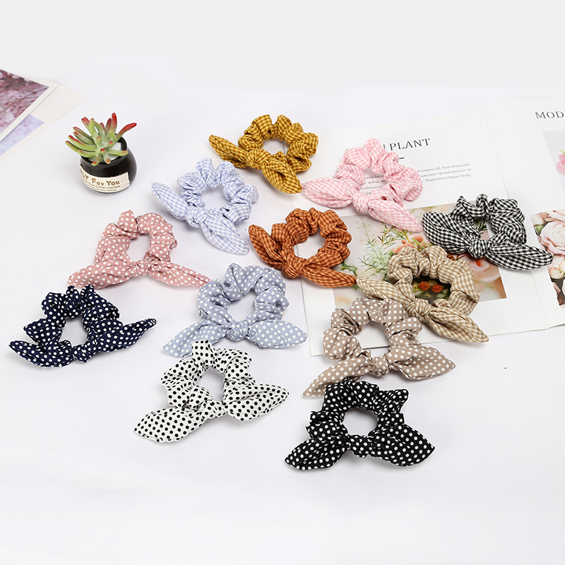 Girls/Women Bunny Ear Hair Scrunchie Knot Bow Hair Band Hair Tie Bows Rabbit Ear Elastic Ponytail Holder Bands Hair Bow