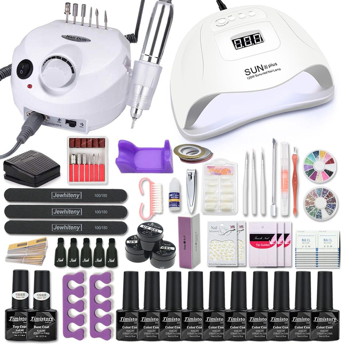 Conjunto de manicure para o prego conjunto 120/80/54 w uv lâmpada led gel unha polonês conjunto kit elétrico broca do prego manicure define ferramentas da arte do prego