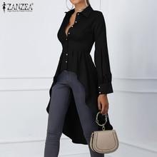 2019 Fashion Women Stylish Tops Blouse ZANZEA Female Long Lantern Sleeve