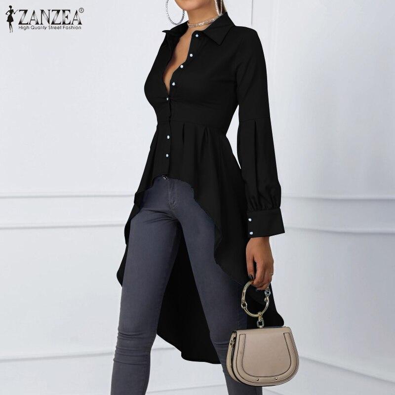 2020 Fashion Women Stylish Tops Blouse ZANZEA Female Long Lantern Sleeve Shirts Elegant Asymmetrical High Waist Blusas Tunic 5XL