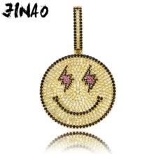 JINAO, новинка, модное ожерелье со смайликом в виде глаз молнии, ледяное ожерелье и подвеска, хип-хоп ювелирные изделия, AAA кубический циркон, ожерелье для подарка