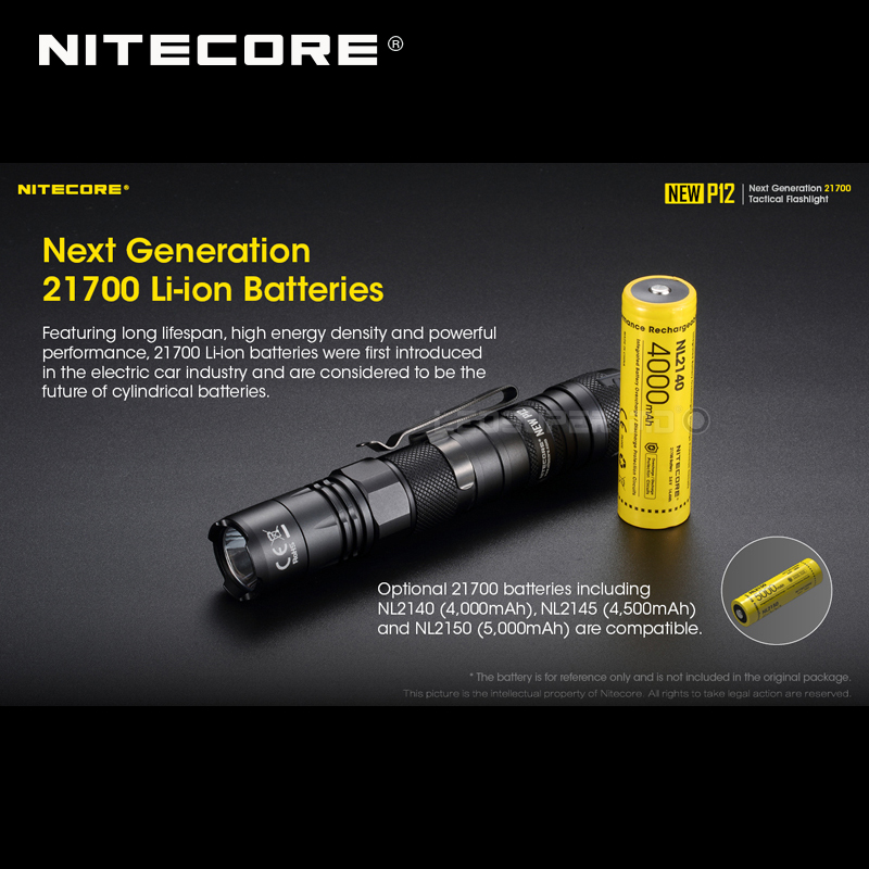 1200 Lumens Nitecore NEW P12 Next Generation 21700 Tactical Flashlight with NTH10 Holster - 2