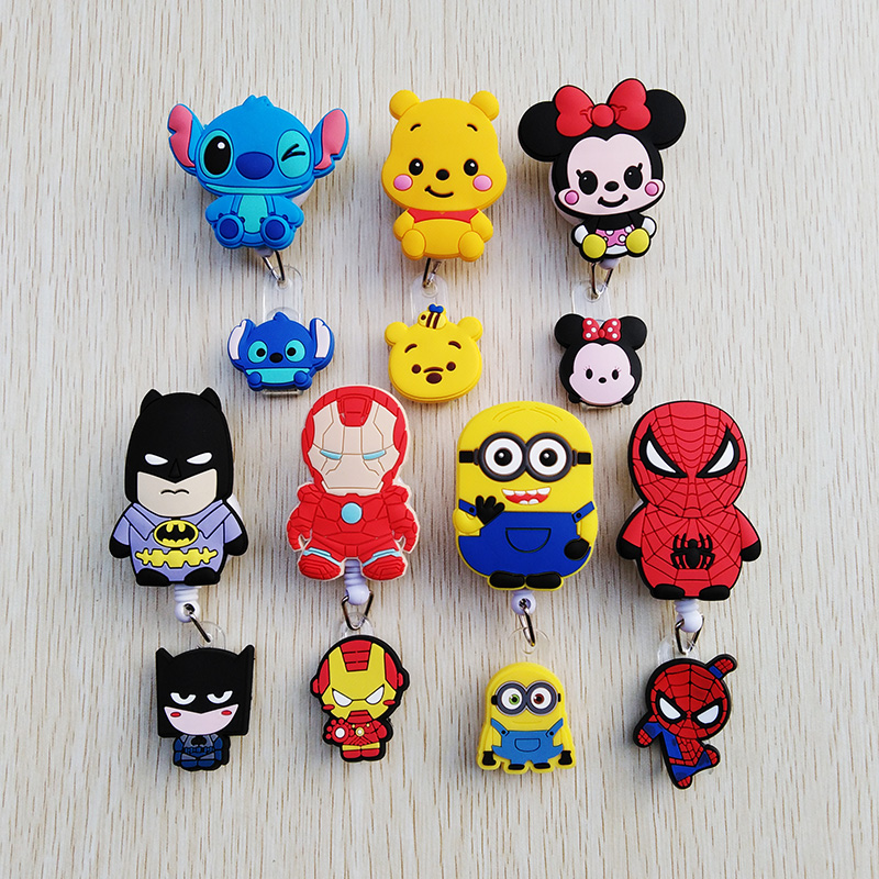 1 Pcs/lot New Creative Cartoon Animal Retractable Pull Badge Reel ID Name Tag Card Nurse Badge Holder 2020 Lovely Kids Reels