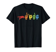 Teken Taal Grappige Rainbow Flag Gay Lgbt Deaf Asl Mute Gift T-shirt(China)