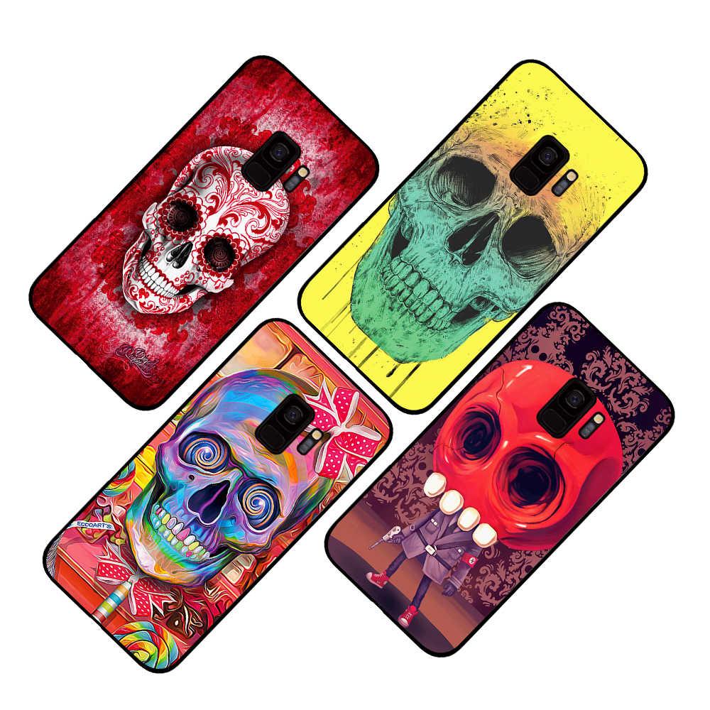 Funda colorida del teléfono del cráneo del tatuaje rojo para Samsung Galaxy S10 S10E S8 Plus S7 S6 Edge S9 S10e Plus Note 8 9 cubierta