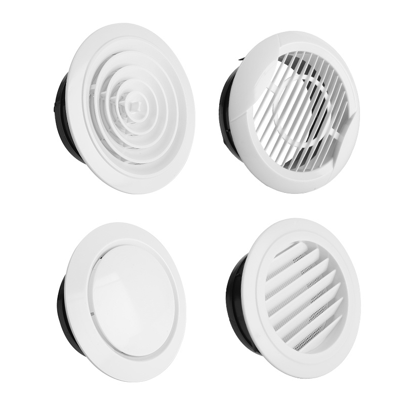 Adjustable Air Ventilation Cover Round Ducting Ceiling Wall Hole Abs Air Vent Grille Louver Kitchen Bath Air Outlet Fresh System
