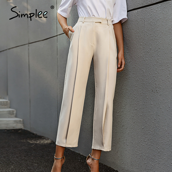 Solid High Waist Office Trousers 1