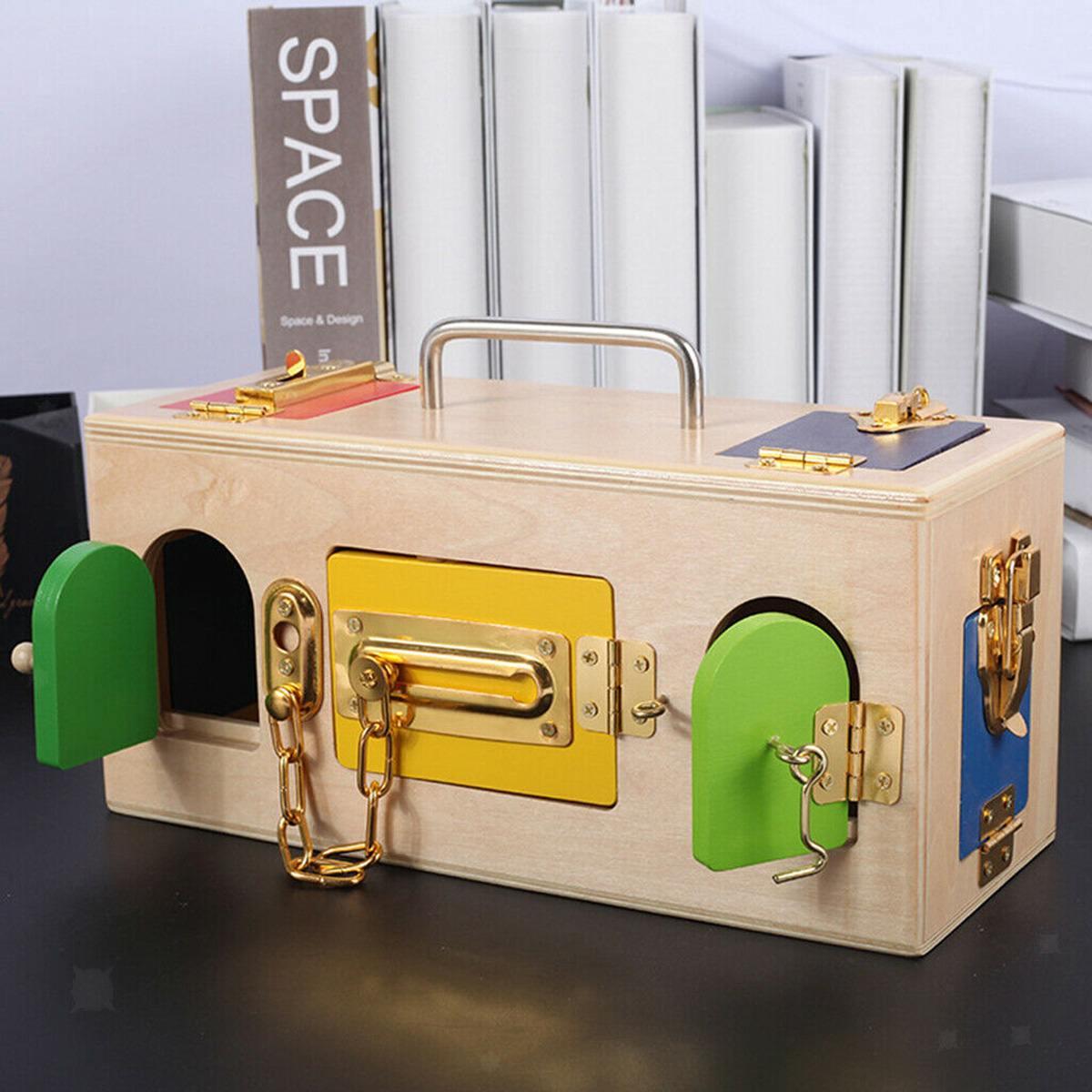 Montessori serrure boîte vie pratique jouet ouvrir la serrure clé éducatifs en bois jouets pour enfants de base et compétences de la vie jouets d'apprentissage - 5