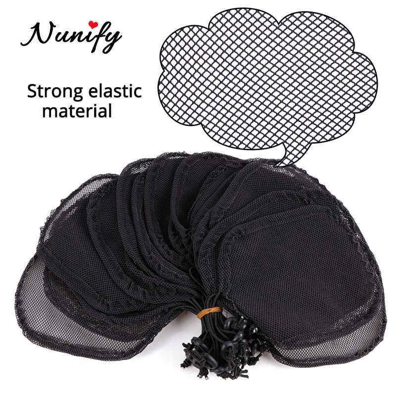 Nunify 5 Teile/los Kordelzug Pferdeschwanz Net Schwarz Farbe Haar Net Für, Der Pferdeschwanz Afro Puff Bun Net Weben Kappe Perücke, der Werkzeug