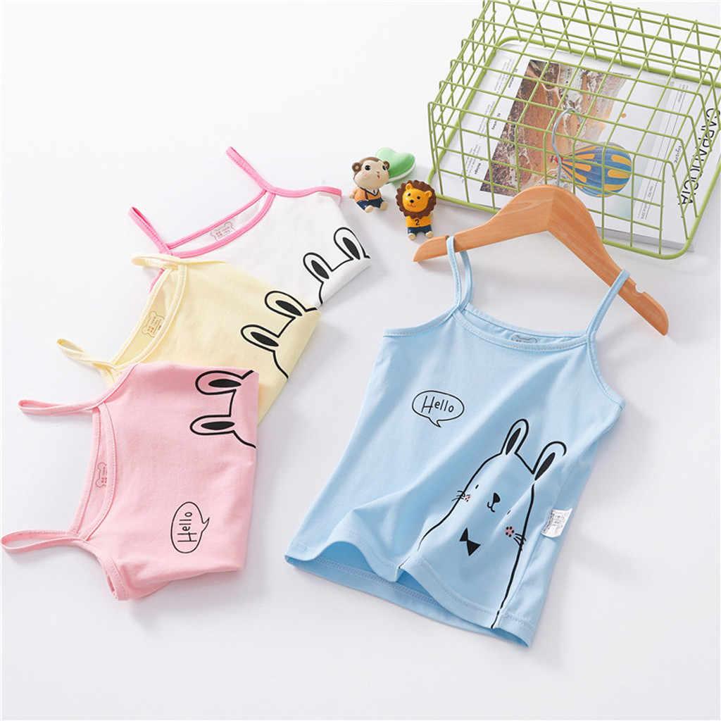 ילדי ילדי ילדה שרוולים צבעים בוהקים אפוד חולצה גופיית חולצות בגדי הדפסה יפה אופנה טרי סגנון קלע חולצות