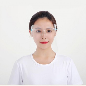 10 Adults Protective Face Shield With Glasses Transparent Full Facial Cover Mask Anti Fog Plastic Clear Visor For Cooking outdoor protective transparent plastic mask with elastic strap