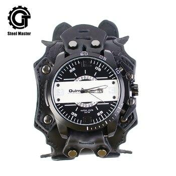 2019 Steampunk Watch Men Black alloy leather Women Retro Fashion Prop Chronograph Watches Original Wristwatch of Brassy Movement