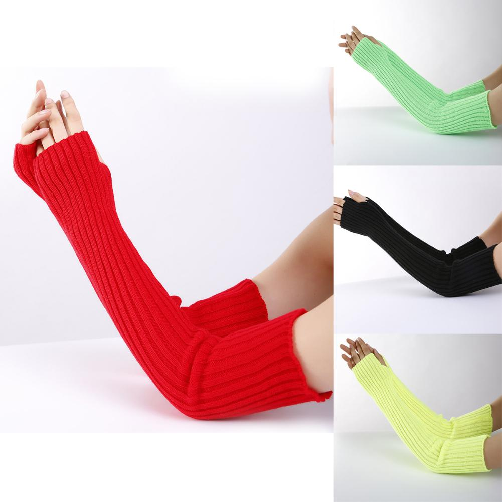 Women Stretchy Long Sleeve Fingerless Gloves Warm Knitted Mittens Arm Warmers Christmas Gifts митенки женские длинные Armlinge