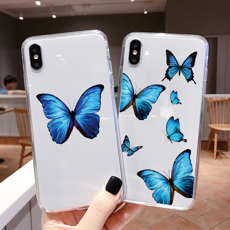 Lovely Butterfly Phone Case For Xiaomi Redmi Mi Note 10 8 8T 9 7 6 5 K20 K30 Pro SE A3 Lite CC9 CC9e S2 Pocophone F1 Clear Cover image