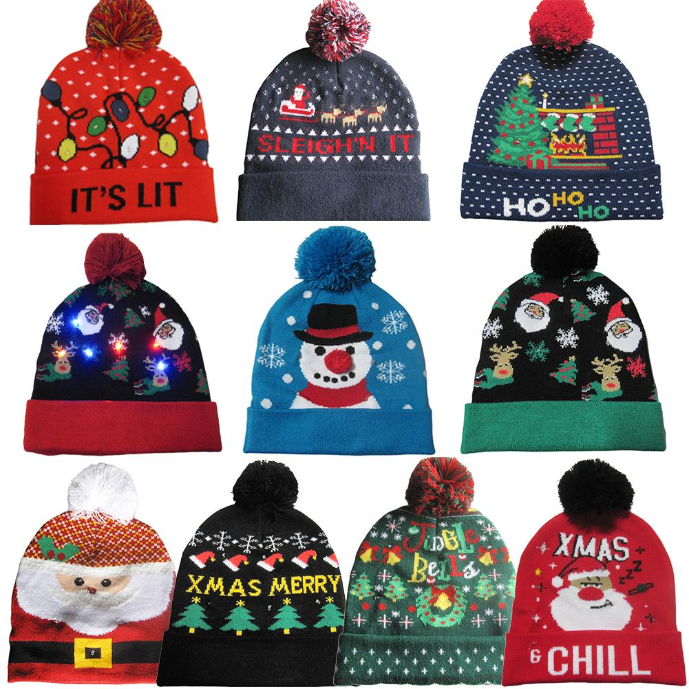 Multiple Color LED Christmas Light Up Hat Xmas Tree Crochet Knitted Led Hat AI8