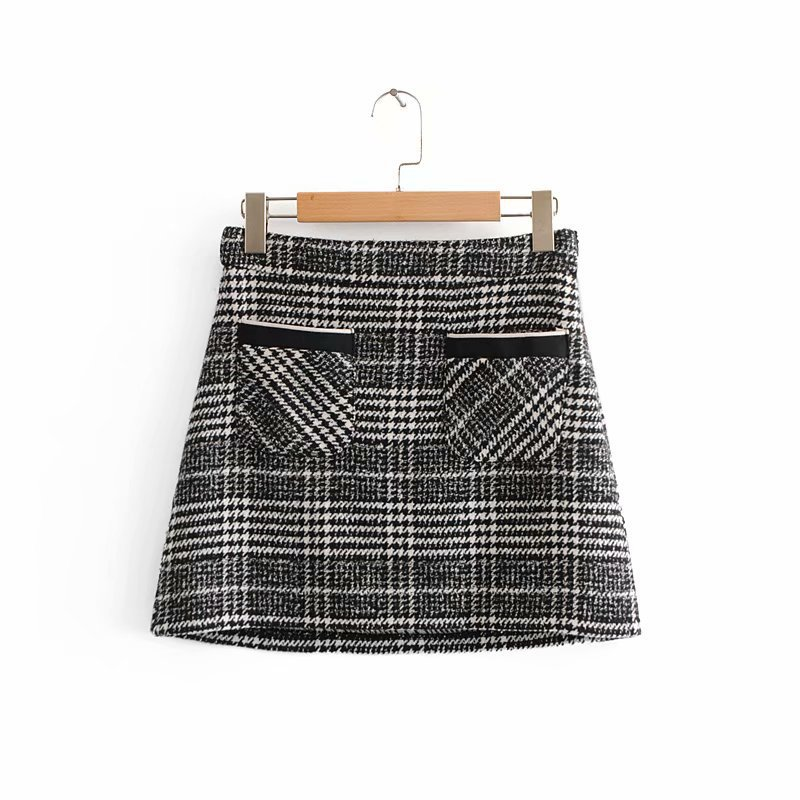 2018 Western Style Autumn And Winter WOMEN'S Dress New Style Pocket-Accent Tweed Mini Skirt