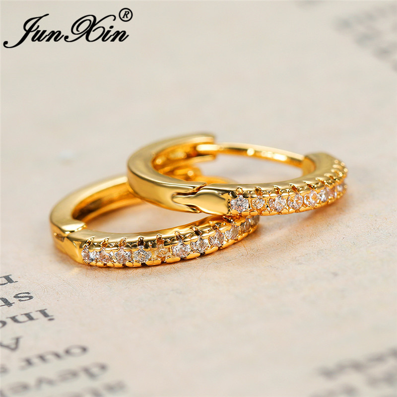 Female Crystal Stone Circle Earrings Yellow Gold White Zircon Round Hoop Earrings For Women Men Daily Piercing Party Jewelry