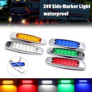 Image 2 - 2Pcs 12LED 24V צד סמן אורות אחורי עמילות אור מחוון איתות מנורות משאית קרוואן טרקטור אוטובוס ואן סירה עמיד למים