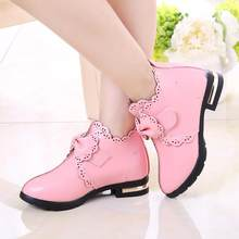 Winter New Girl Leather Martin Boots Shoes for Girls Children Slip Warm Kids Boots Bow Fashion Soft Bottom Toddler Girls Shoes(China)