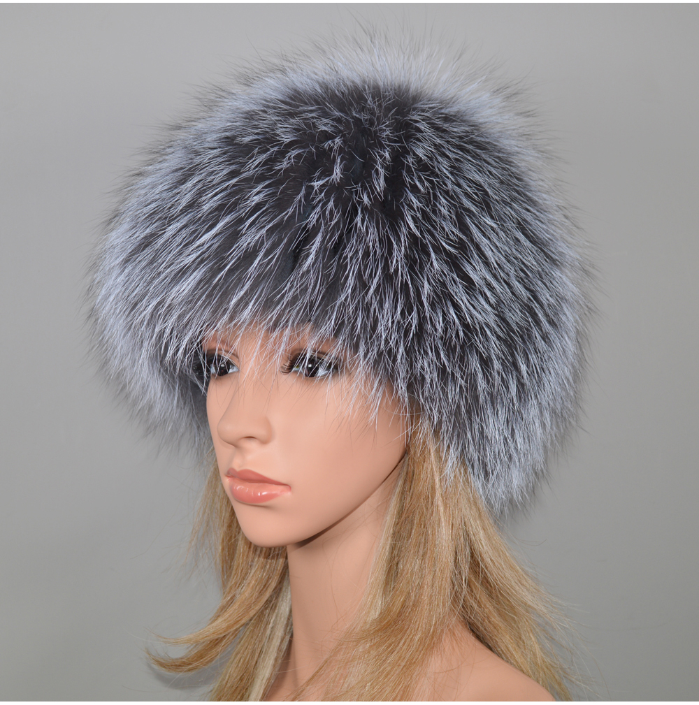 H88515baa6edc45b49affe4ded9bd5921w - New Luxury 100% Natural Real Fox Fur Hat Women Winter Knitted Real Fox Fur Bomber Cap Girls Warm Soft Fox Fur Beanies Hats
