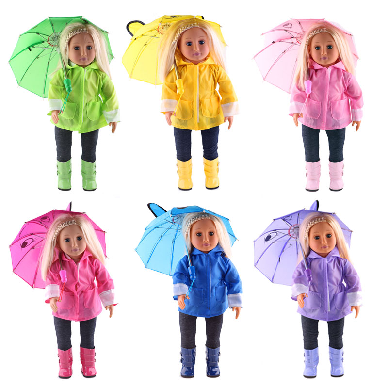 Rain Set 6Pcs=Hat+T-Shirt+Coat+Pants+Shoes+Umbrella For 18 Inch American&43Cm Baby New Born Doll Clothes Accessories Girl`s Toy(China)