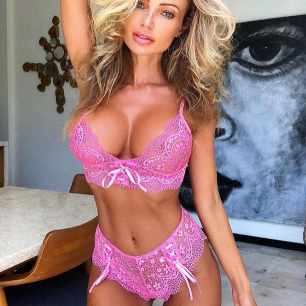 Sexy Women Lingerie Corset Transparent Lace Bra Set Push Up Underwear Bras And G-strings Bralette Sets