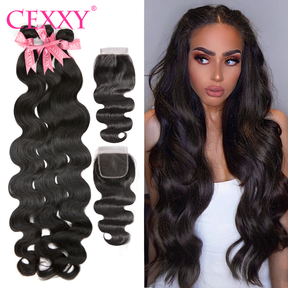 Cexxy Human-Hair Closure Body-Wave-Bundles Virgin Brazilian with Raw