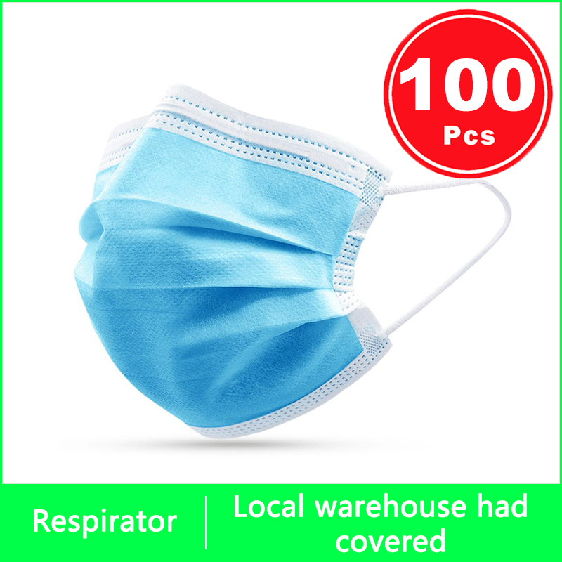 3 Layer Mesh Rine Protection Masks Disposable Face Mask Protective Mask Elastic Ear Loop Breathable Anti Dust Mask Face Shield