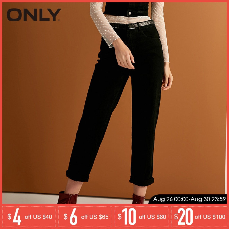 ONLY Women's Spring & Summer Loose Fit Black Crop   Jeans   |118349614
