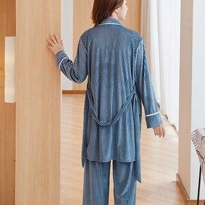 Image 3 - Women Pajamas sleepwear Velvet 3 Pieces pajamas for women Warm Winter Pajamas Sets Sexy Pajama Set Women pyjama cotton pijama