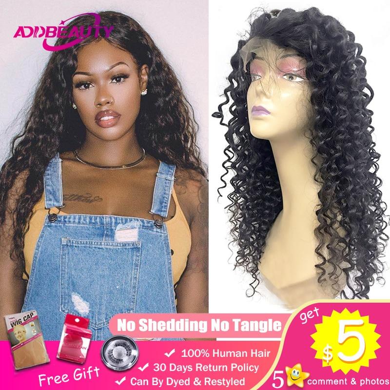 Deep Wave 13x4 Lace Frontal Wig Preplucked Wigs For Black Women Virgin Hair Peruvian Custom DIY 180% 250% Density