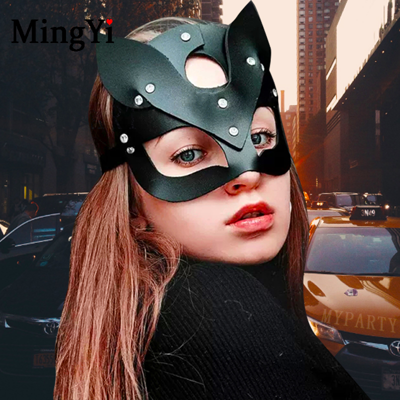 Sexy PU Leather Cat Mask For Women BDSM Fetish Cat ears Black Eye Mask Halloween Carnival Club Party Masks Catwoman Cosplay Mask(China)