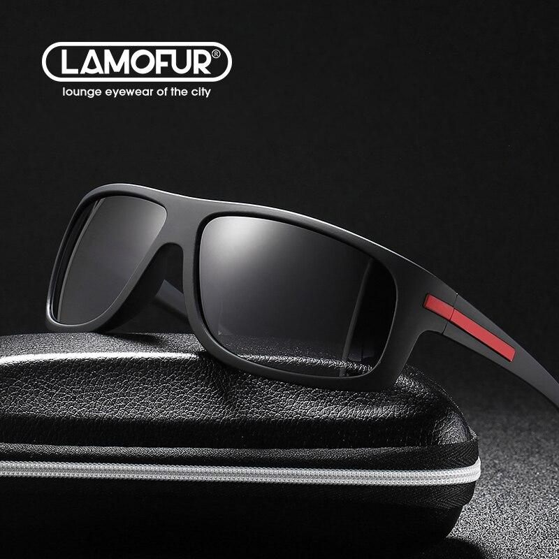 очки солнечные мужские Солнцезащитные очки LAMOFUR Мужские поляризационные, прямоугольной формы, в стиле ретро, для вождения, летние, UV400, 2021, 2915