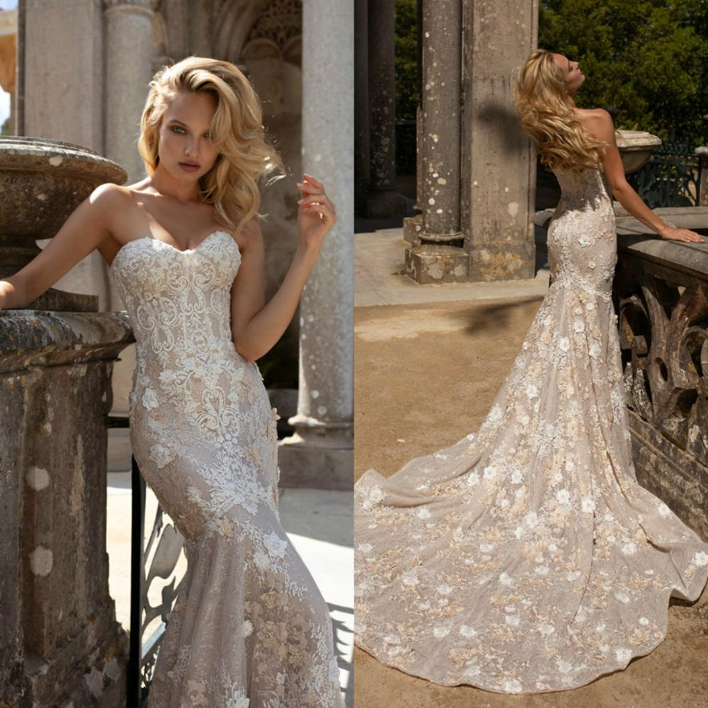 Vintage Mermaid Wedding Dresses 2020 Sweetheart Lace 3D Floral Appliques Beaded Bridal Gowns Sexy Custom Made Robe De Mariee
