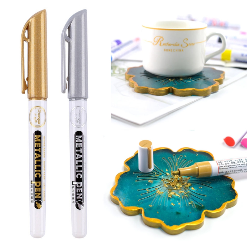 6Pcs Gold Silver Epoxy Resin Drawing Pen Gold Leafing Point Pen Marker Acrylic Paint Highlights Metallic Permanent Marker