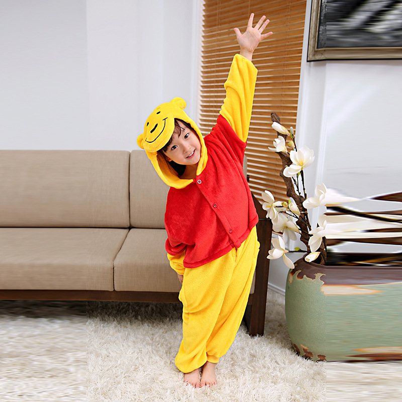Winnie The Pooh Cartoon Children One-piece Animal Pajamas Autumn & Winter Long Sleeve Warm Tracksuit