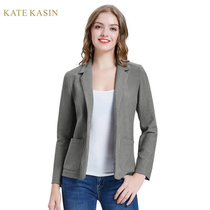 Kate Kasin Single Button Blazers Jackets Office Lady Stylish Notch Suit Jacket Coat Women Formal Business Blazer Outwear Femme