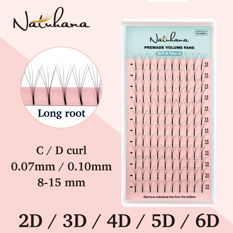 NATUHANA 2D-6D Premade Volume Fans Long Stem False Lashes Korea Silk Individual Eyelash Extension Handmade Natural Mink